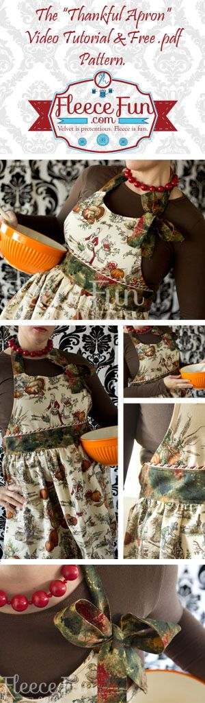 You can make a fun and functional apron.  This free .pdf pattern has a video tutorial to walk you through this project step by step..