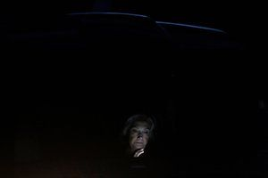 New York, USA: Democratic presidential candidate Hillary Clinton waits in her car after arriving at Westchester County airport in White Plains