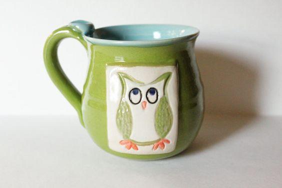 One Owl Mug, Green and Blue,  Holds 14 oz, Ready to Ship