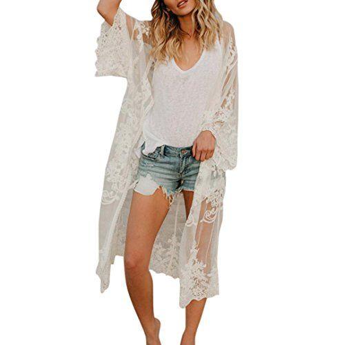 Frauen Boho Floral Chiffon Strand Kimono Cardigan Lange Cover Up Jacke Mantel DE