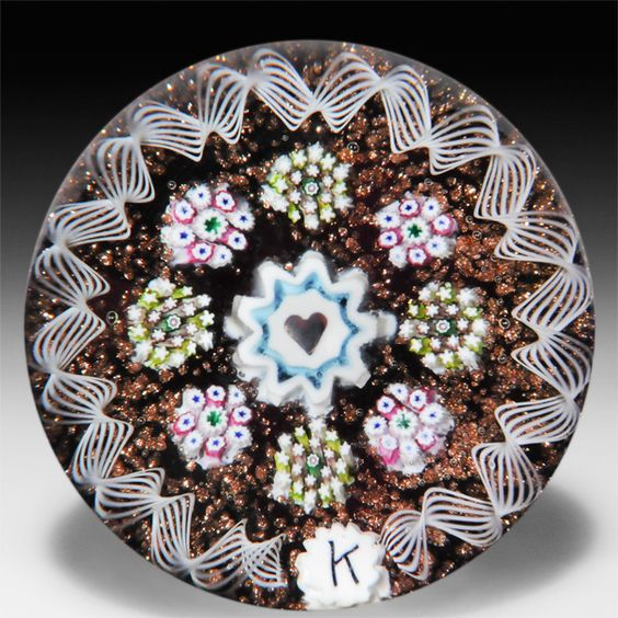 milleflori paperweights | Charles Kaziun Junior spaced millefiori with heart miniature ...