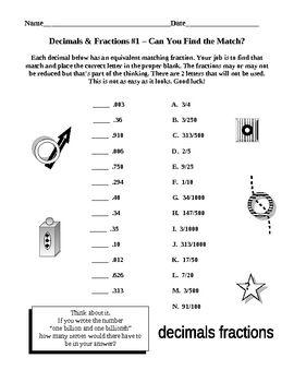 Decimals and Fractions Together - Werkbladen, Breuken en Student
