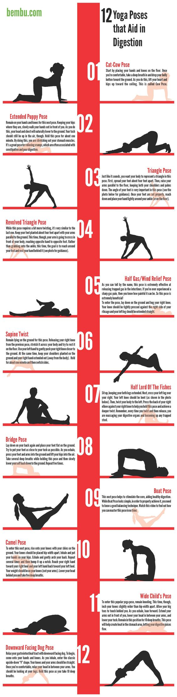 While yoga benefits the body in many different ways (i.e. stress relief, weight loss, and pain relief), it's also one of the best workouts for relieving constipation. With a combination of deep breathing exercises and twisting poses that massage the organs, yoga works your intestinal muscles and helps release any trapped toxic stool. Below, you will find a basic yoga sequence filled with 12 poses that have been known to help improve digestion and relieve constipation.