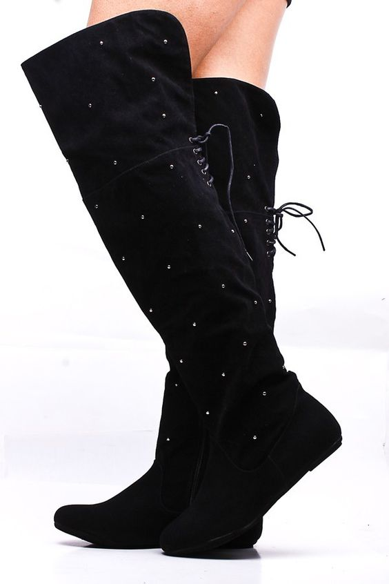BLACK FAUX SUEDE STUDDED OVER THE KNEE THIGH HIGH FLAT BOOTS,Women ...