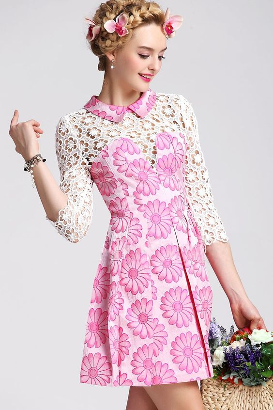 Morpheus Boutique  - Pink Hollow Out Floral Satin Pattern 3/4 Sleeve Pleated Dress