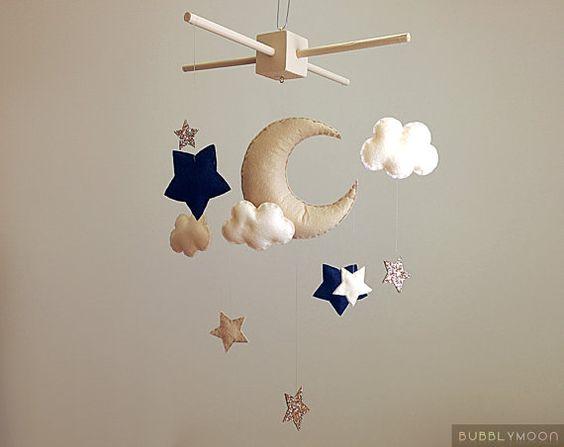 Baby Mobile- Moon And Stars Cot/ Crib Mobile- Gold Modern Nursery Decor- Felt Nursery Mobile- Custom Nursery Baby Mobile, Cloud Cot Mobile.