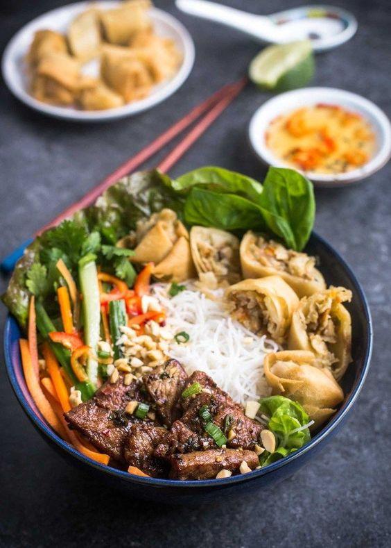 Vietnamese Noodle Bowls (Bun Thit Nuong Cha Gio)