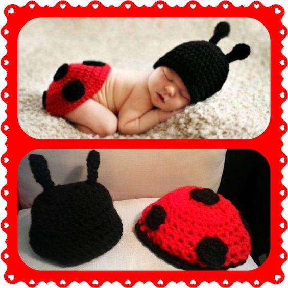 Marienkäfer Baby Outfit gehäkelt fasching halloween von Tinkertati
