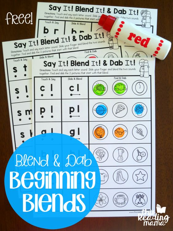 Blend and Dab Beginning Blends Worksheets - free - This Reading Mama