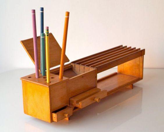 Perfect Vintage Faux Wood Desk Organizer