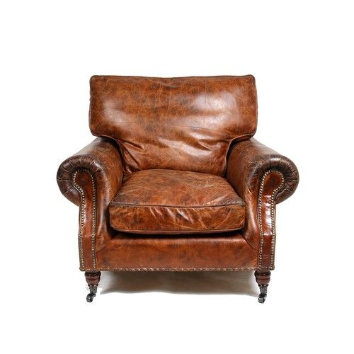 Vintage brown leather studded sofa armchair vintage for Leather studded couch
