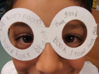 "oo - write poem featuring your vowel team.  Write oo words (or whatever you're working on) on glasses to make sure you ""see"" them in your poem."
