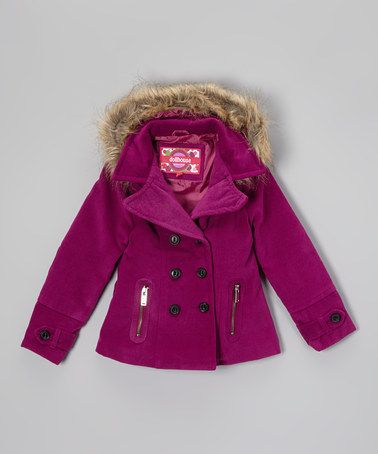 Dollhouse Deep Orchid Faux Fur Hooded Peacoat - Girls | Coats