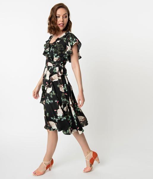 1940s Black Ivory Crane Print Luella Wrap Dress Unique Dresses Dresses Vintage Brand Clothing