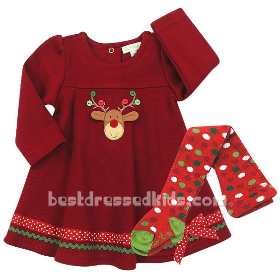 Newborn Merry Reindeer Flared Dress & Tights Set | Home| Holiday | Winter Holiday | Matching Family