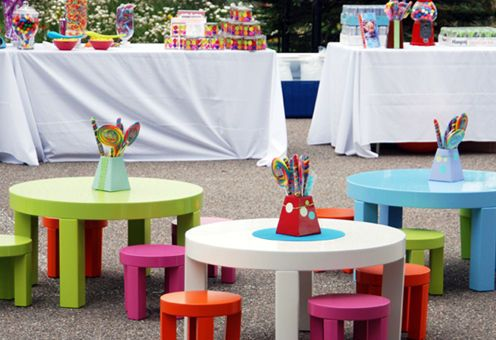 kid size tables with candy centerpiece!