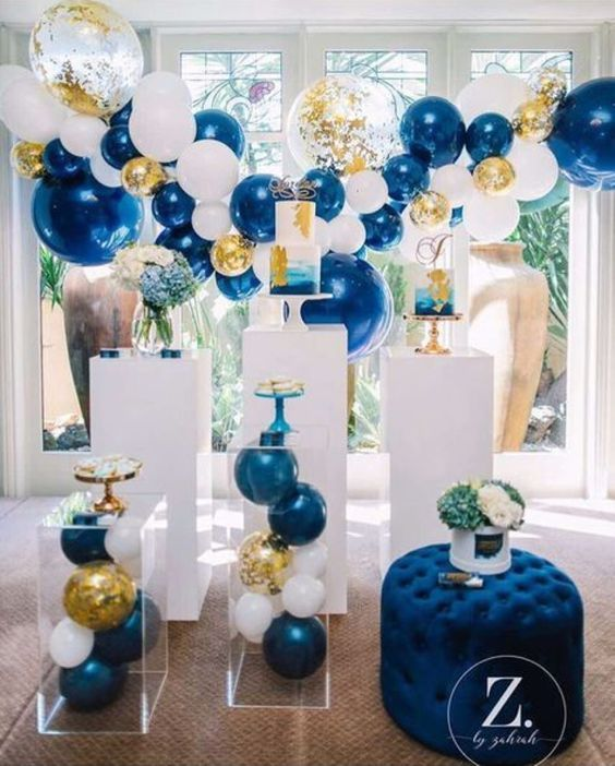 Navy Blue And Gold Balloon Garland Party Styling By Glam