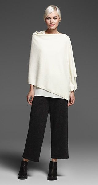 EILEEN FISHER New Arrivals: Undyed Cashmere Poncho, Silk Shell, Merino Cropped Pant + Chelsea Bootie: