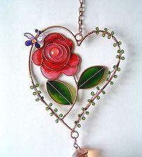 Rose corazón Windchime Jardín de Flores suncatcher Ventana Colgante De Pared De Regalo de San Valentín