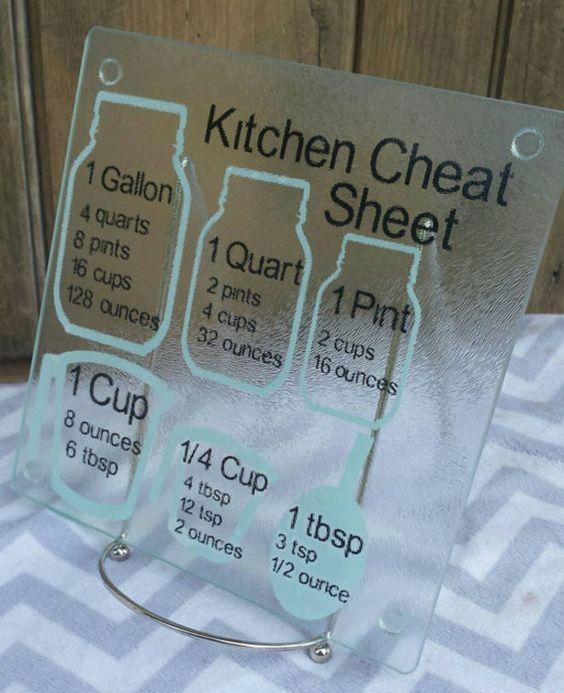 Cooking measurement conversions cutting board,  kitchen cheat sheet, decorative glass cutting board, housewarming gift, kitchen conversion