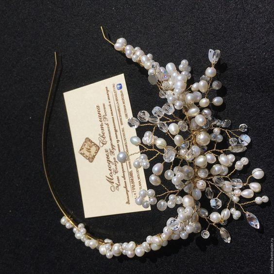 Купить Свадебный ободок из жемчуга - для невесты, невесте, ободок для волос, ободок для невесты, ободок