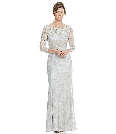 Cachet Illusion Caviar Cowl Back Gown #Dillards