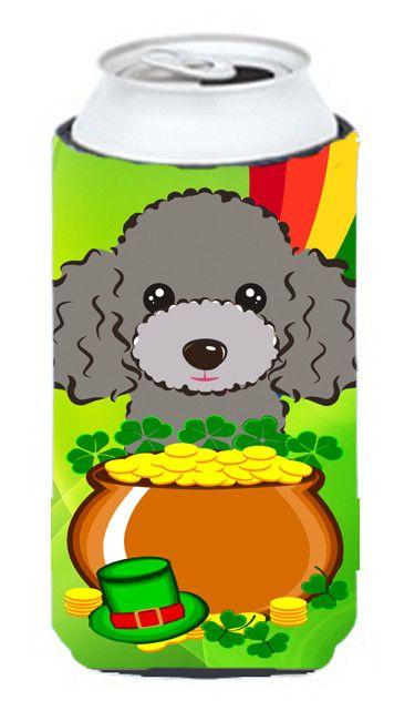 Silver Gray Poodle St. Patrick's Day Tall Boy Koozie Hugger BB2003TBC