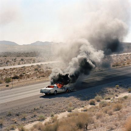 Jeff Brouws, Burning Car, Needles, California, 1992