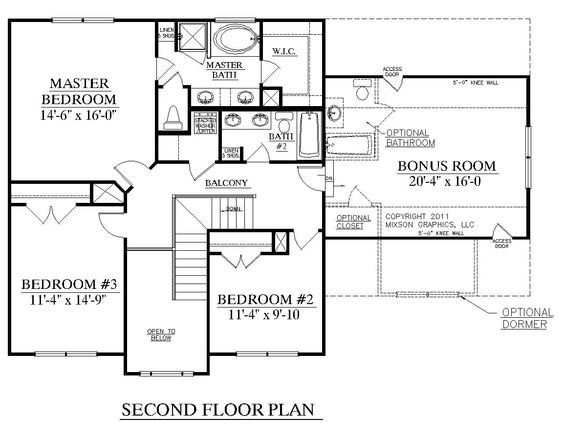 House plan 2168 a cedar creek 2nd floor 2168 square feet for Garage floor plans with bonus room