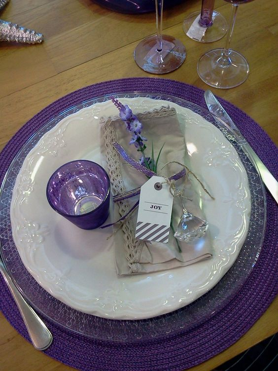 Purple Christmas table setting