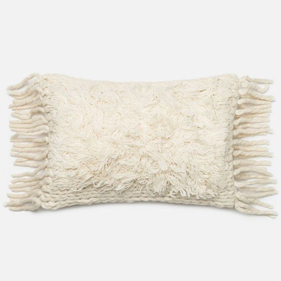 Loloi Ivory Pillow 13 X 21 | Domino #boho #anthropologie