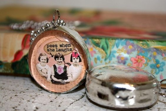 haha Best friend charm Funny soldered glass pendant by thepaisleymoon,