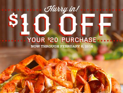 Joe's Crab Shack: $10 Off a $20 Purchase Valid January 31, 2014 through February 6, 2014 at participating locations.