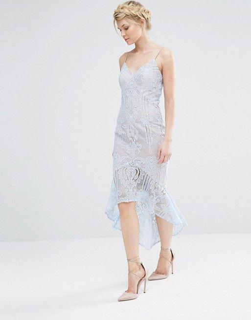 Jarlo Petite | Jarlo Petite Cami Strap All Over Lace Dress Midi With Fishtail Detail