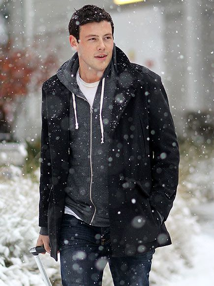 black coat, charcoal hoodie, white tee, blue jeans / men fashion. Also love him in Glee.