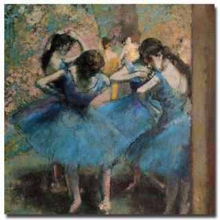 Edgar Degas 'Dancers in Blue; 1890' Canvas Art