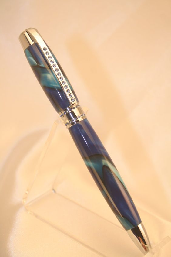 Silk sapphire blue acrylic custom ballpoint pen by GoodNewsPens