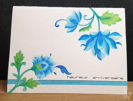 Altenew Blue birthday card with persian motifs Izzy Scrap – Persian Birthday Cards