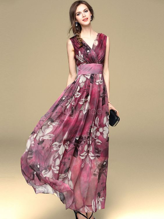 Vestido Largo Caoba Moda Mujer De Chifón Con Estampado De Flores Vestidos En Capas Estilo Bohemio Verano Vestidos De Flores Largo Vestidos Largos Vestidos De Gasa