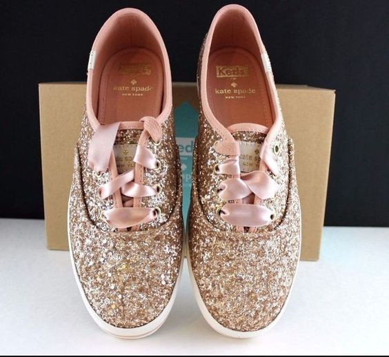 details about kate spade keds sneakers kick rose gold glitter shoes pink ribbon new in the box. Black Bedroom Furniture Sets. Home Design Ideas