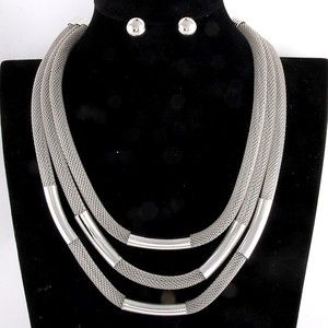 Silver Three Strand Mesh Princess Necklace