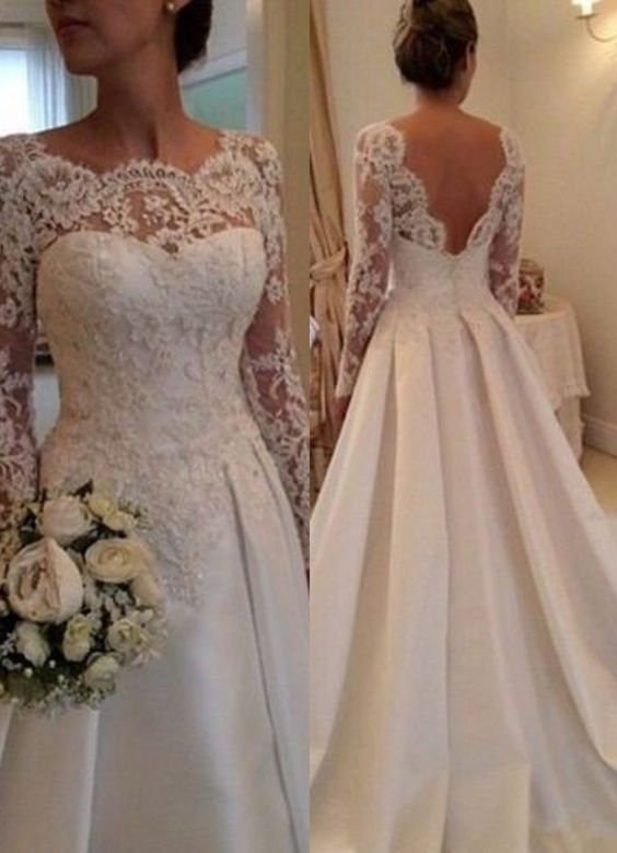 Elegant Illusion Long Sleeve Wedding Dress With Lace Appliques