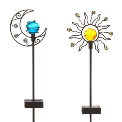Moon garden Garden stakes and Sun moon on Pinterest