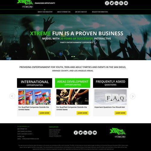 Xtreme Fun Is Franchising You Can Be Designer Of Our Franchise Website Web Page Design Contest Design Web Page Xtreme In 2020 Contest Design Page Design Webpage Design