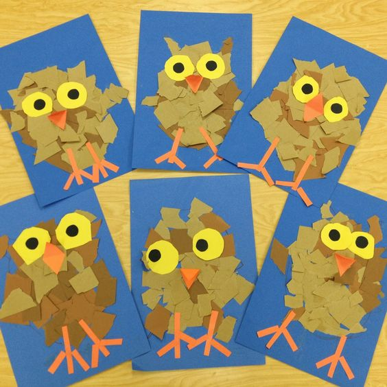 Torn Paper Owlets - We began by drawing the owl step-by-step and ripping brown paper to create the owl's feathers. Ripping the paper was a great way to work on fine motor skill development. The students practiced cutting by tracing two cups for the yellow eyes and cutting them out. They added details such as legs, eyes, and a beak to complete the baby owl.