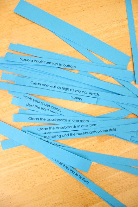 """Kids pick a """"consequence"""" from the blue slip jar. If they pick """"Mercy,"""" they don't have to do a chore. Instead, they have a few minutes of quiet time to think about how God gives us mercy even when we don't deserve it. :: delia creates: Pin Test: Parenting With Glitter and Blue Slips"""