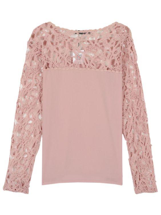 Lace Crochet Rosa Painel Chiffon Blusa | Choies