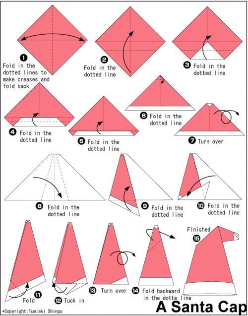 ハート 折り紙:サンタの帽子 折り紙-jp.pinterest.com