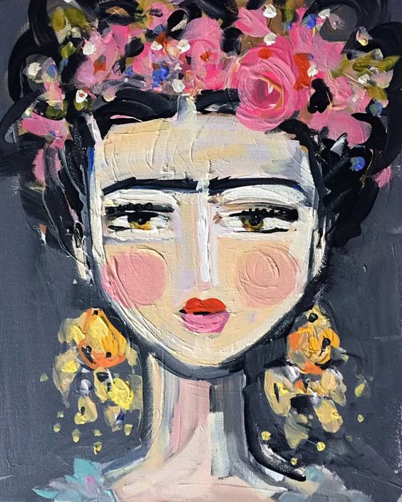 Impresión de Frida Kahlo retrato bonito rosas por DevinePaintingsm