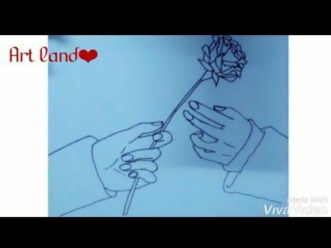 رسم يدين و ورد رسم يد ولد يعطي ورد رسم الحب Hand Giving Rose Drawing Youtube Rose Drawing Drawings Art